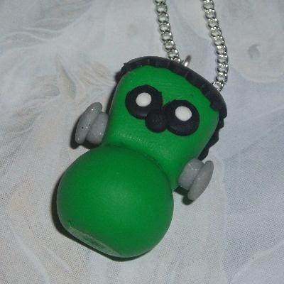 Zingy Frankenstein Blob Pendant Necklace Green Fimo Halloween