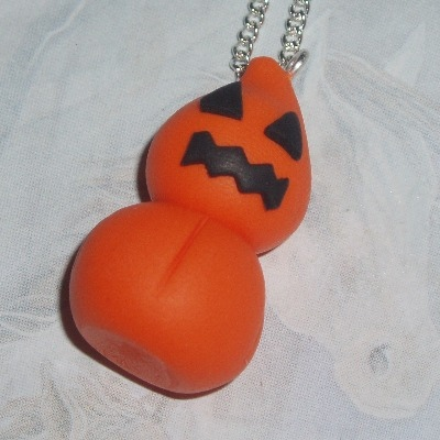 Zingy Pumpkin Blob Pendant Necklace Orange Fimo Halloween