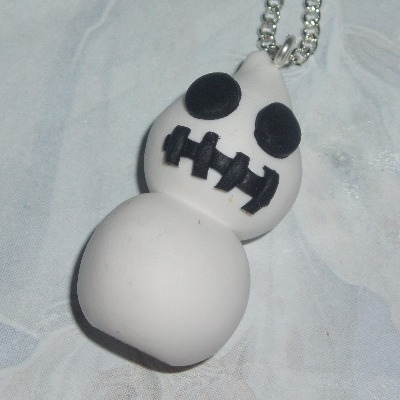 Zingy Skeleton Blob Pendant Necklace Fimo Halloween