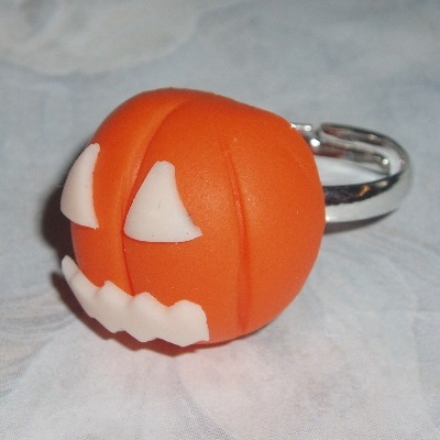 Pumpkin Ring Fimo Clay Glow In The Dark Halloween Spooky Childs