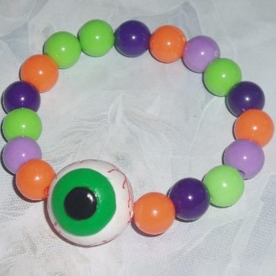 Eyeball Bracelet Beads Fimo Bloodshot Halloween Handmade