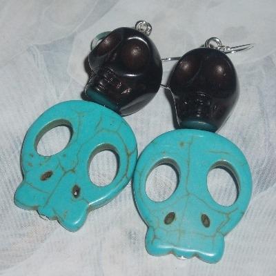 Skull Earrings Black Turquoise Howlite Paloma Faith Dia Muertos