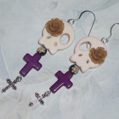 Skull Earrings Bone White Purple Howlite Cross Dia de los Muertos