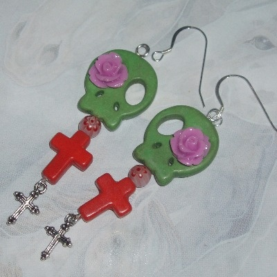 Skull Earrings Green Orange Howlite Cross Dia de los Muertos