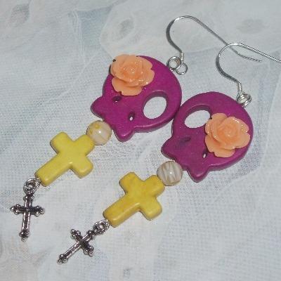 Skull Earrings Pink Yellow Howlite Cross Dia de los Muertos