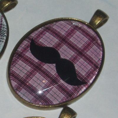 Moustache Necklace Pendant Pink Plaid Tartan Movember