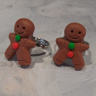 Gingerbread Man Ring Fimo Christmas Biscuit Adjustable