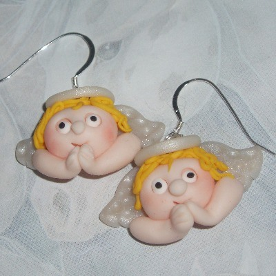 Fimo Angel Earrings Golden Halo Wings Christmas Sterling