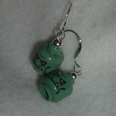 Lego Earrings MiniFigure Head Green Monster Re-cycled