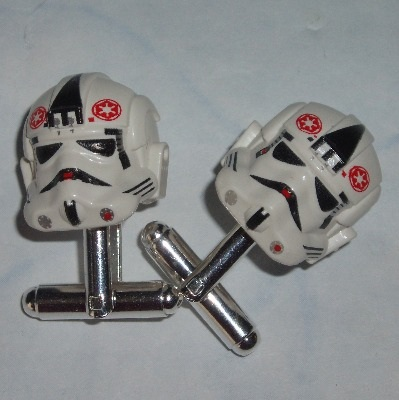 Lego Stormtrooper Cufflinks Star Wars At-At Driver Helmets