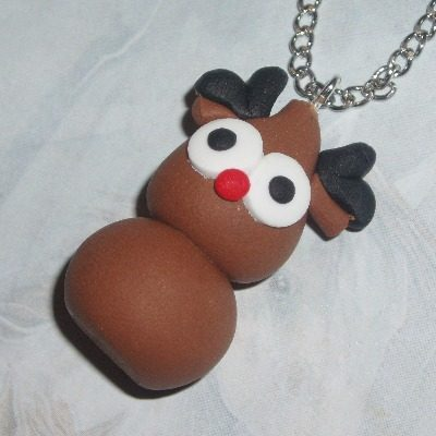Zingy Rudolph Blob Pendant Necklace Red Nose Fimo Christmas