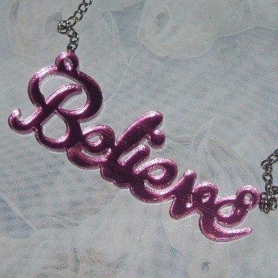 Believe Necklace Pendant Christmas Pink Mirror Acrylic Word