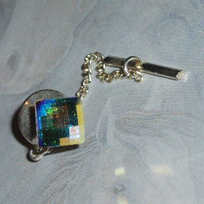 Tie Tack Swarovski AB Square Chain Bridal Prom Groom Best Man