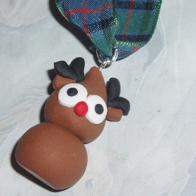 Zingy Rudolph Decoration Red Nose Fimo Christmas Tree