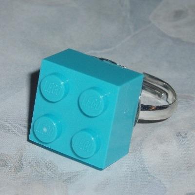 Lego Ring 2x2 Brick Azure Turquoise Swarovski Rare Geek Retro