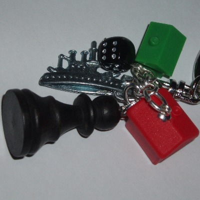 Monopoly Bag Charm Ship Hotel House Black Dice Pawn Chess