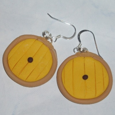 Hobbit Door Earrings Yellow Sam's Fimo Sterling Lord Of The Rings