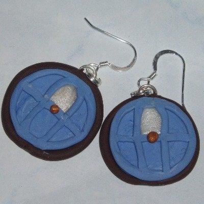Hobbit Door Earrings Blue Fimo Sterling Lord Of The Rings