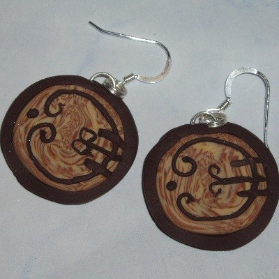 Hobbit Door Earrings Wooden Curly Fimo Sterling Lord Of The Rings