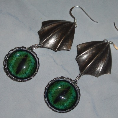 Dragon Wing Earrings Blue Green Eyeball Gothic Steampunk