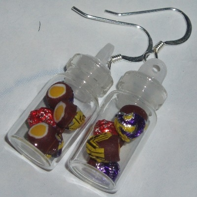 Creme Eggs In A Bottle Earrings Handmade Fimo Sweetie Jar