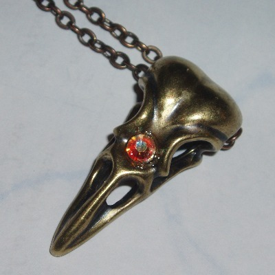 Bird Skull Pendant Swarovski Raven Victorian Gothic Steampunk