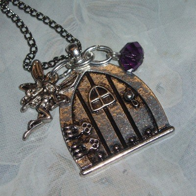 Fairy Door Birthstone Pendant Necklace Fae Charm Crystal