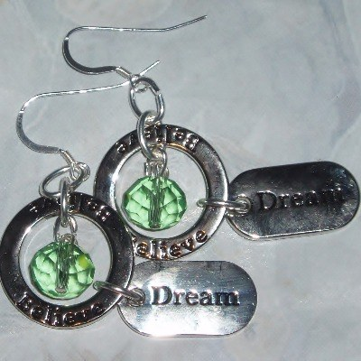 Dream Believe Birthstone Affirmation Earrings Crystal