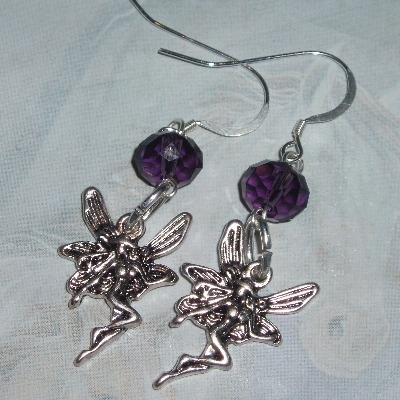 Fairy Birthstone Earrings Fae Charm Crystal Sterling