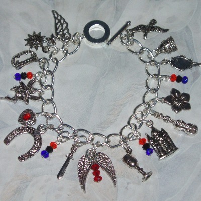 The Mortal Instruments Charm Bracelet Wings Sword Mirror