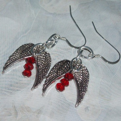 The Mortal Instruments Earrings Wings Red Crystal