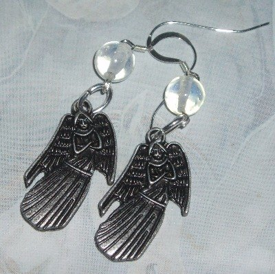 Dr Who Earrings Weeping Angel Opalite Sterling