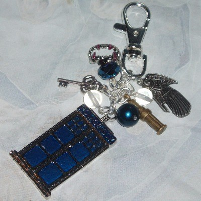 Dr Who Bag Charm Tardis Police Box Weeping Angel Fangs