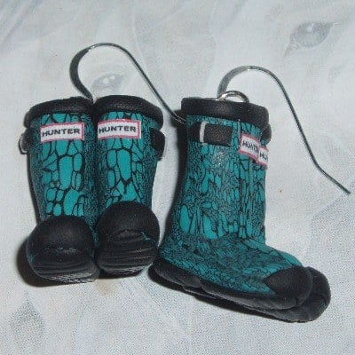 Welly Earrings Turquoise Hunter Carnaby Snake Wellies Fimo