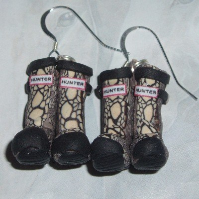 Welly Earrings Natural Hunter Carnaby Snake Wellies Fimo