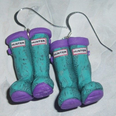 Welly Earrings Turquoise Lilac Hunter Carnaby Snake Wellies Fimo