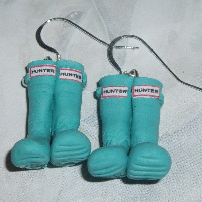Welly Earrings Turquoise Hunter Wellies Fimo