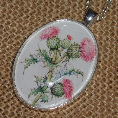 Thistle Necklace Pendant Flower Scotland Scottish
