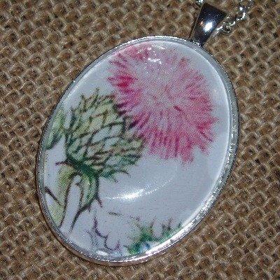 Thistle Necklace Pendant Flower Scotland Scottish