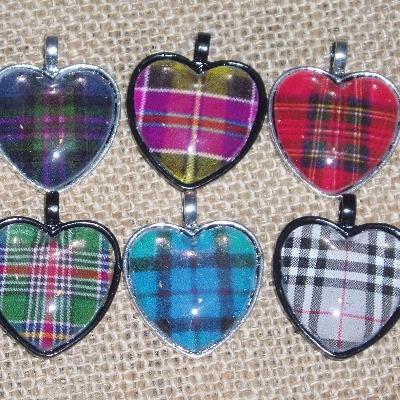 Tartan Heart Necklace Pendant Plaid Scottish Clan Bridesmaid
