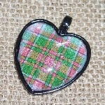 Tartan Heart Necklace Pendant Plaid Scottish Clan Bridesmaid