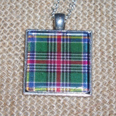 Tartan Necklace Pendant Square Plaid Scottish Clan Bridesmaid
