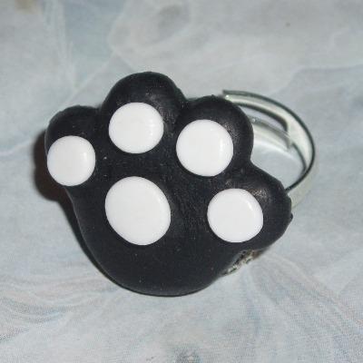 Paw Ring Black White Fimo Adjustable