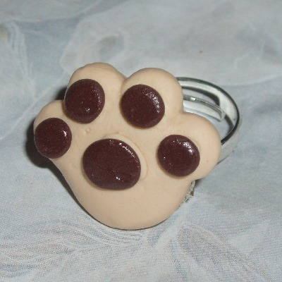 Paw Ring Tan Brown Fimo Adjustable