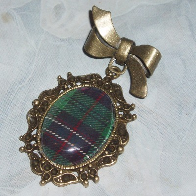 Tartan Brooch Ribbon Pin Pendant Plaid Scotland Scottish Clan