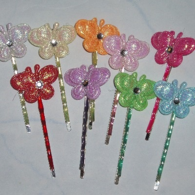 Shiney Padded Butterfly Hair Clips