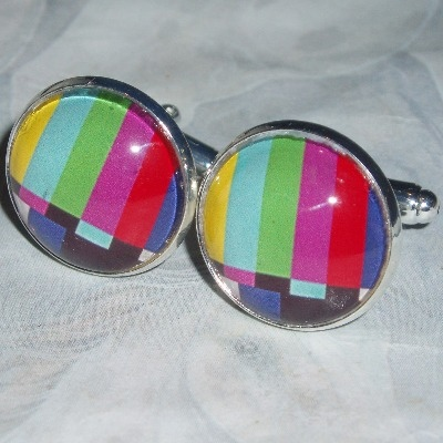 Test Card Cufflinks Glass Cabochon Colour TV Screen Pattern