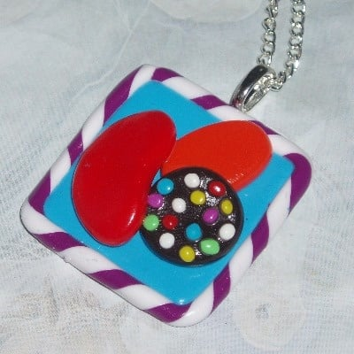 Candy Crush Saga Pendant Necklace Fimo Clay
