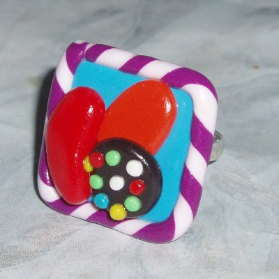 Candy Crush Saga Inspired Ring Fimo Clay Adjustable