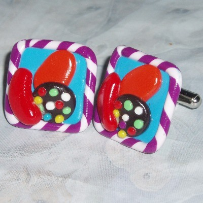 Candy Crush Saga Cufflinks Fimo Clay Adjustable Facebook